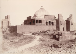 Tatta, Karachi District, Sindh. Isa Khan's Tomb, general view from outside the walls